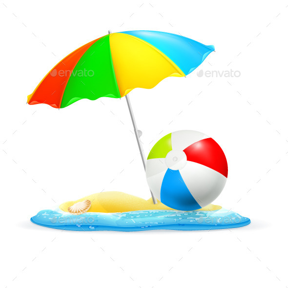 Umbrella and a Ball on Seashore
