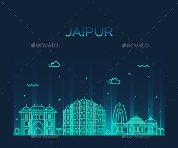 Jaipur Skyline Trendy Vector Illustration Linear - Landscapes Nature