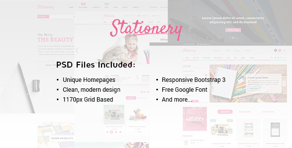 Stationery - Multi-Purpose eCommerce PSD Theme - Retail PSD Templates