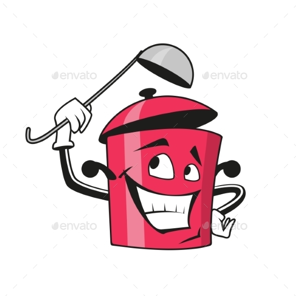 Cartoon Saucepan Character with Ladle - Man-made Objects Objects