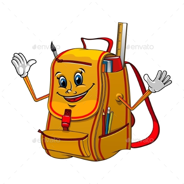 School Backpack Character with Supplies - Miscellaneous Characters