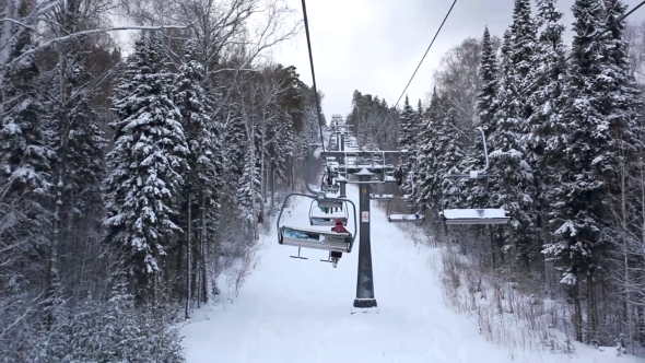 Ski Track With Chair Lift Resort In Mountains
