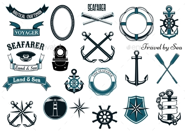 Nautical and Marine Heraldic Elements - Decorative Symbols Decorative