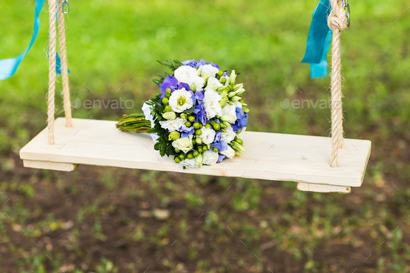 Bridal bouquet of various flowers. - Stock Photo - Images