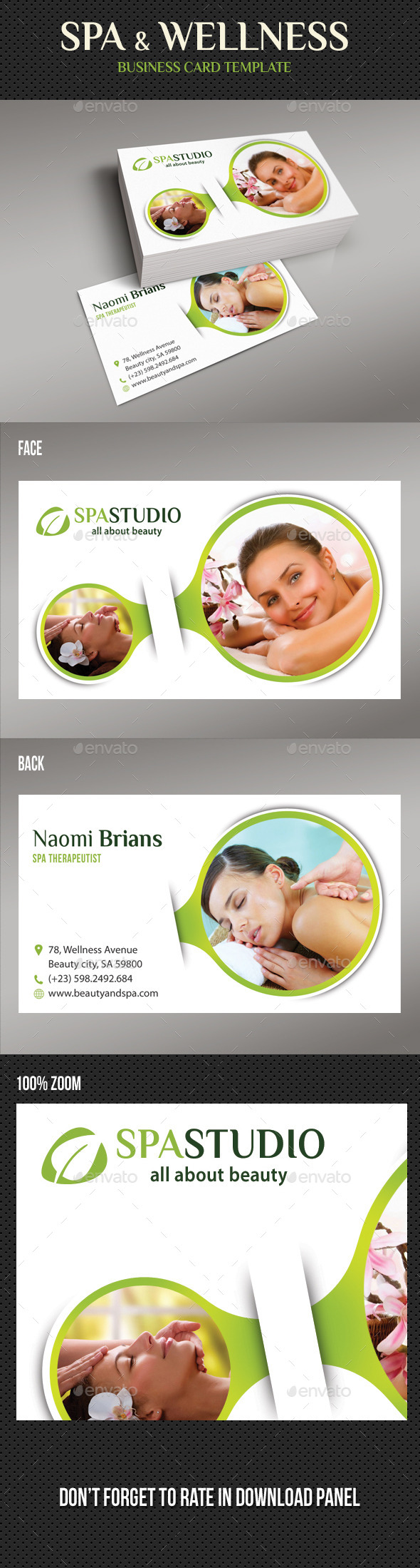 Spa And Beauty Business Card 06 - Industry Specific Business Cards