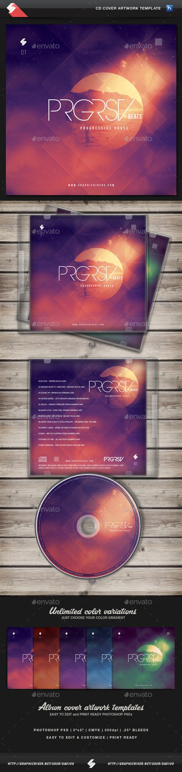 Progressive Beats vol1 - CD Cover Artwork Template - CD & DVD Artwork Print Templates