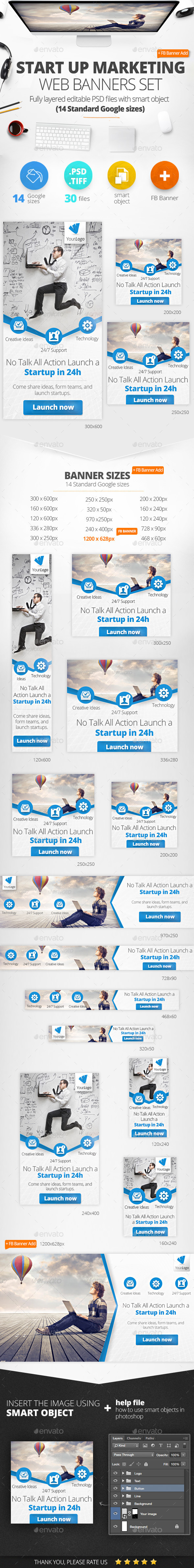 Startup Marketing Web Banners & FB Banner - Banners & Ads Web Elements