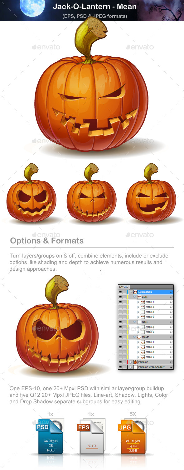 Jack-o-Lantern - Mean - Halloween Seasons/Holidays
