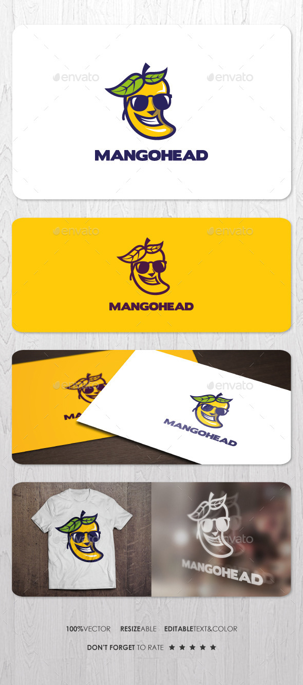 Mango Head Logo - Food Logo Templates