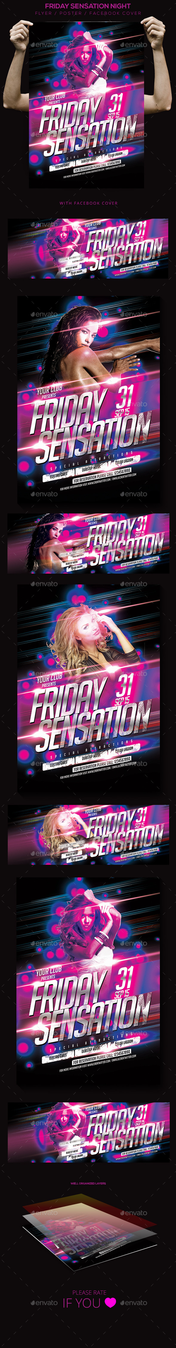Friday Sensation Flyer / Poster / Facebook Cover - Clubs & Parties Events