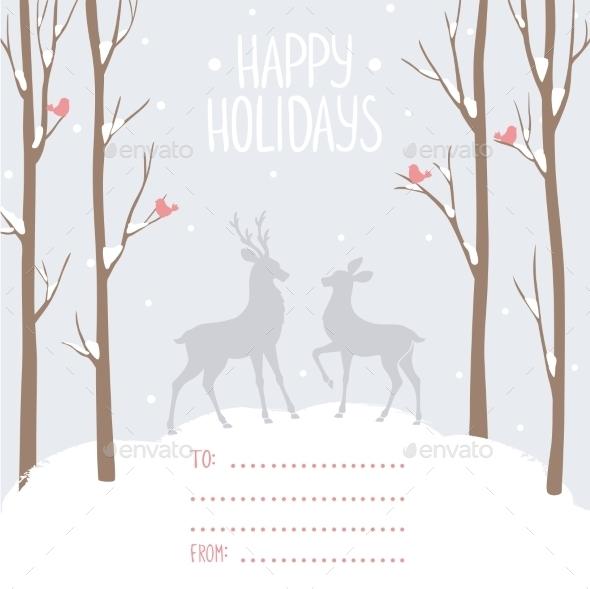 Postcard Winter Deer