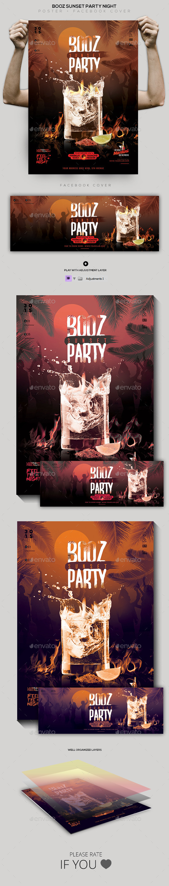 Booz Sunset Party Flyer / Poster / Facebook Cover - Clubs & Parties Events