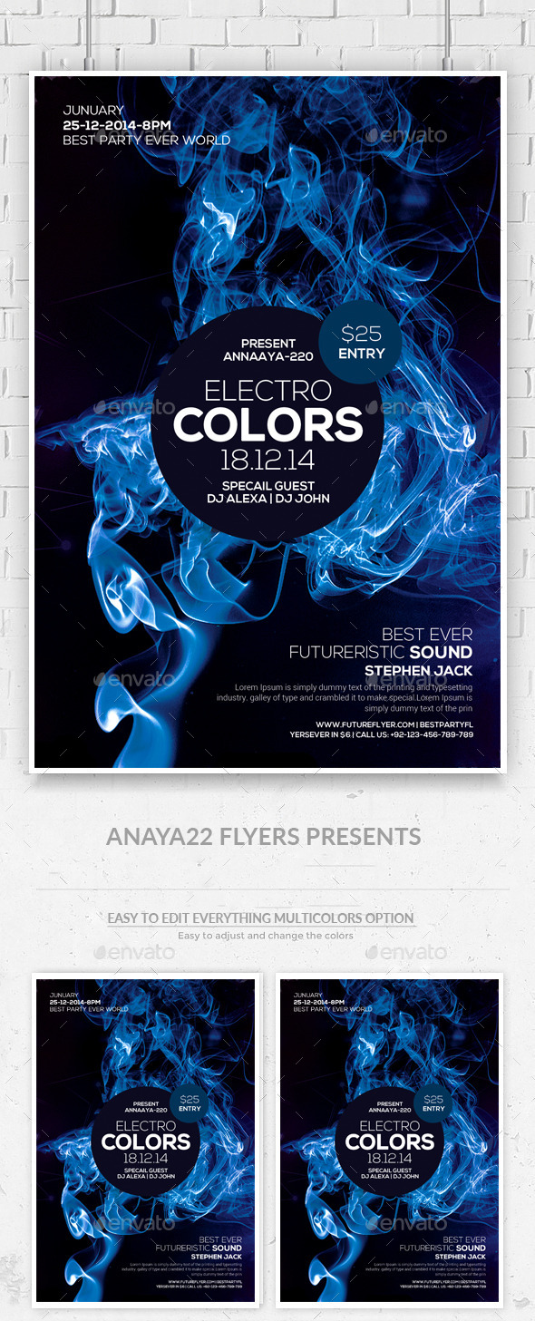 Electro Smoke Futuristic Flyer/Poster - Clubs & Parties Events
