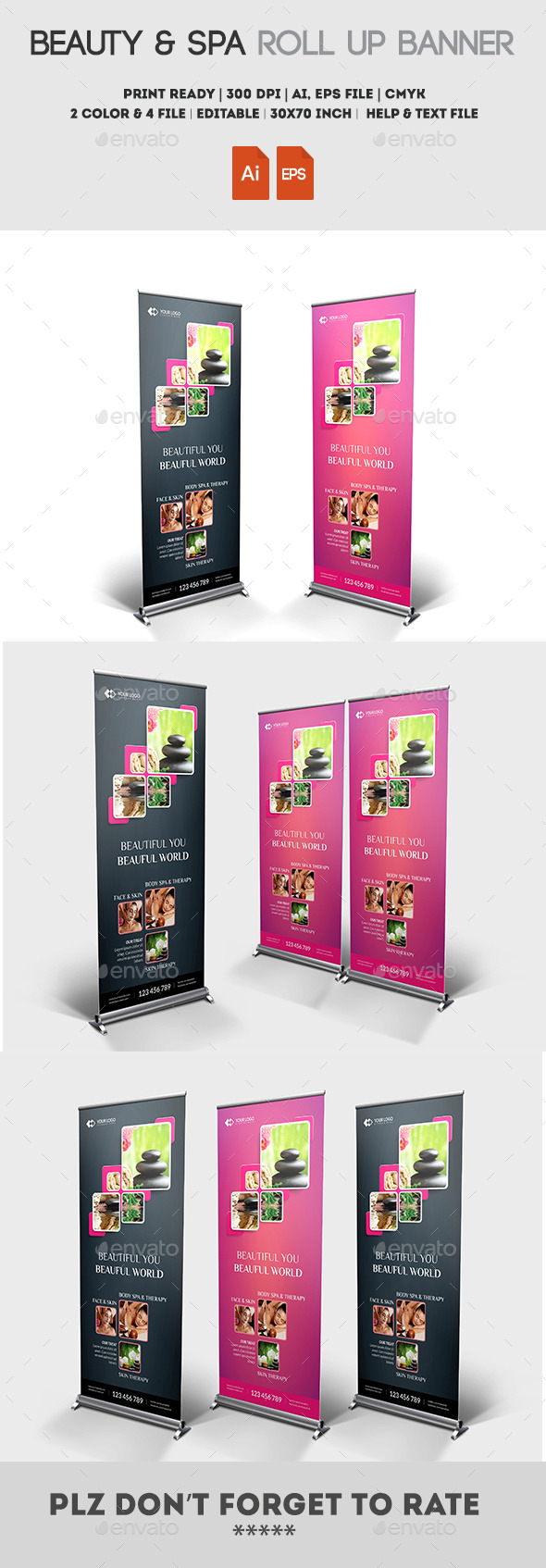 Beauty & Spa Roll up Banner - Signage Print Templates