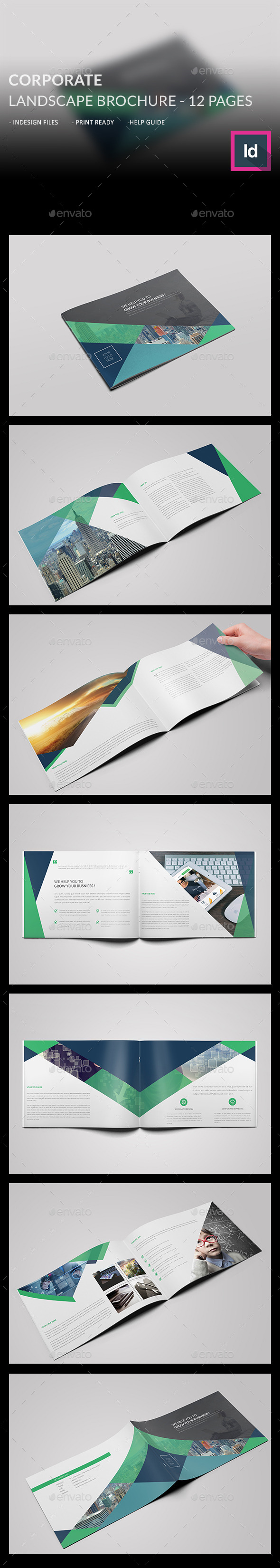 Corporate Landscape Brochure  - Brochures Print Templates