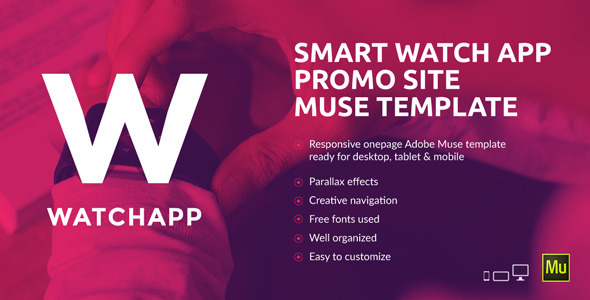 WatchApp - Smart Watch App Promo Muse Template