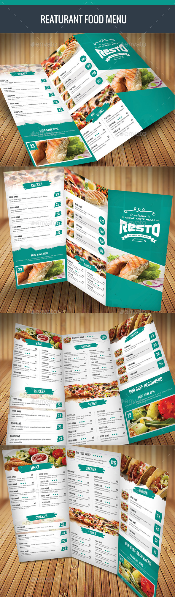 Trifold Food Menu - Food Menus Print Templates
