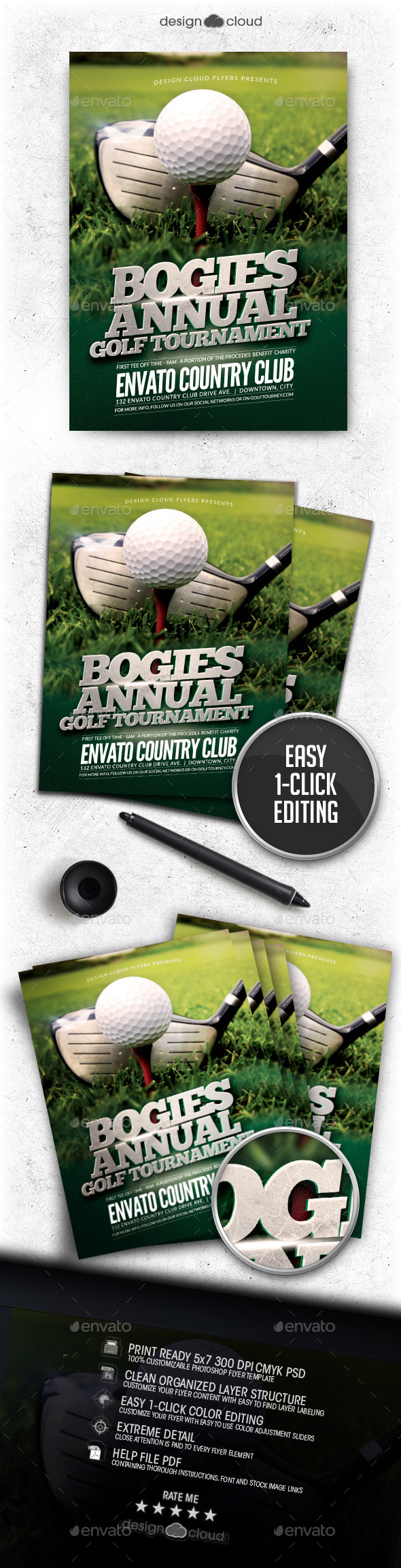 Golf Tournament Flyer Template By Design Cloud Graphicriver