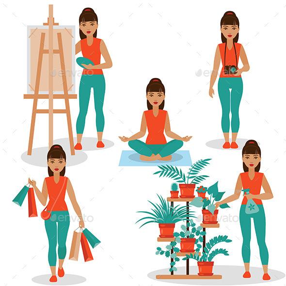 Girl Hobbies - People Characters