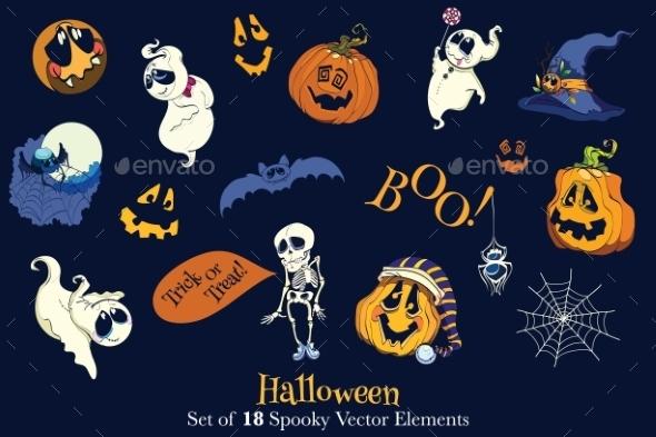 Vector 18 Halloween Elements Set Seamless Pattern - Halloween Seasons/Holidays