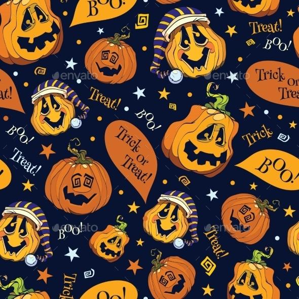 Vector Boo Pumpkins Halloween Seamless Pattern - Halloween Seasons/Holidays