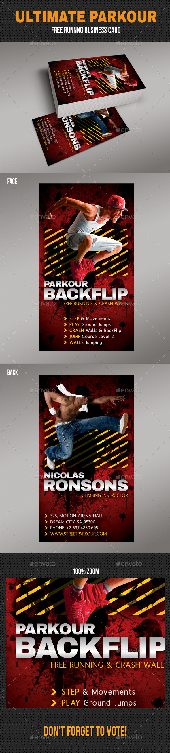 Ultimate Parkour Free Running Business Card V2 - Business Cards Print Templates