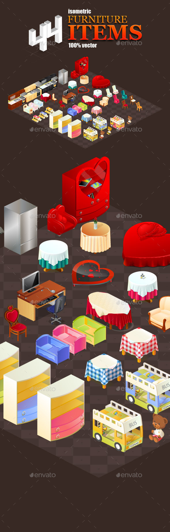 44 Isometric furniture items - Game Kits Game Assets