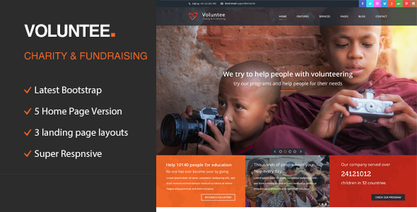 Voluntee – Responsive HTML Template for Charity & Fund Raising
