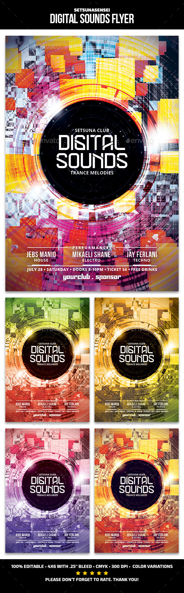 Digital Sounds Flyer - Clubs & Parties Events