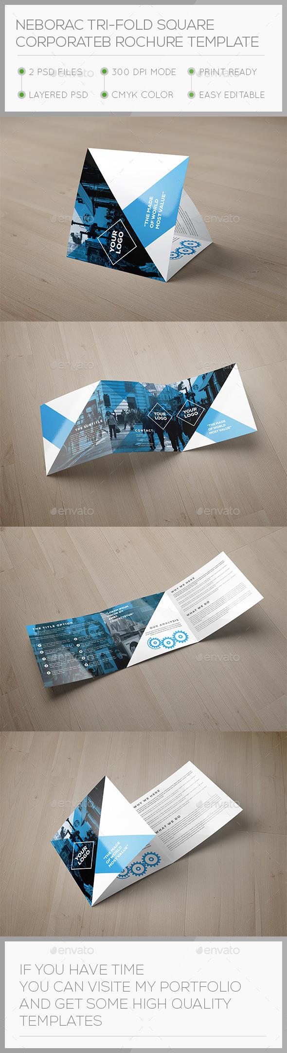 Nerorac Tri-fold Square Brochure Template - Brochures Print Templates