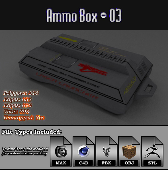 Low Poly AmmoBox - 03 - 3DOcean Item for Sale