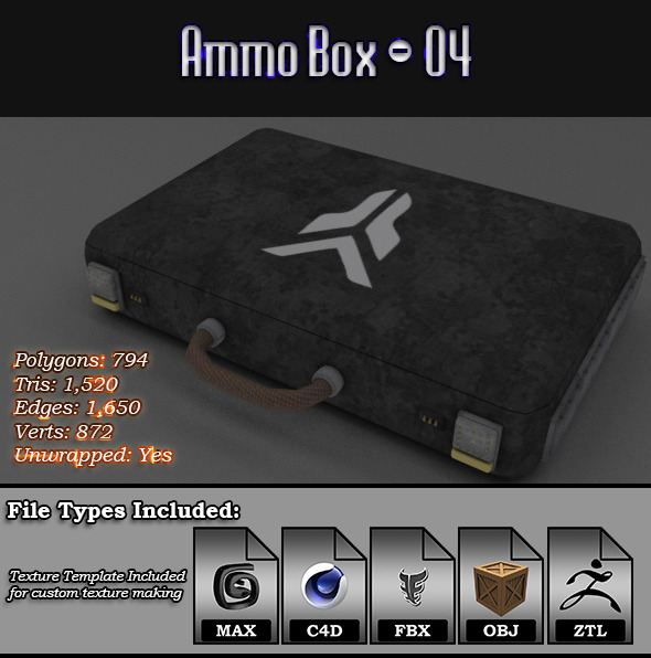 Low Poly AmmoBox - 04 - 3DOcean Item for Sale