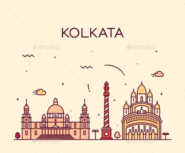 Kolkata Skyline Trendy Vector Illustration Linear - Landscapes Nature
