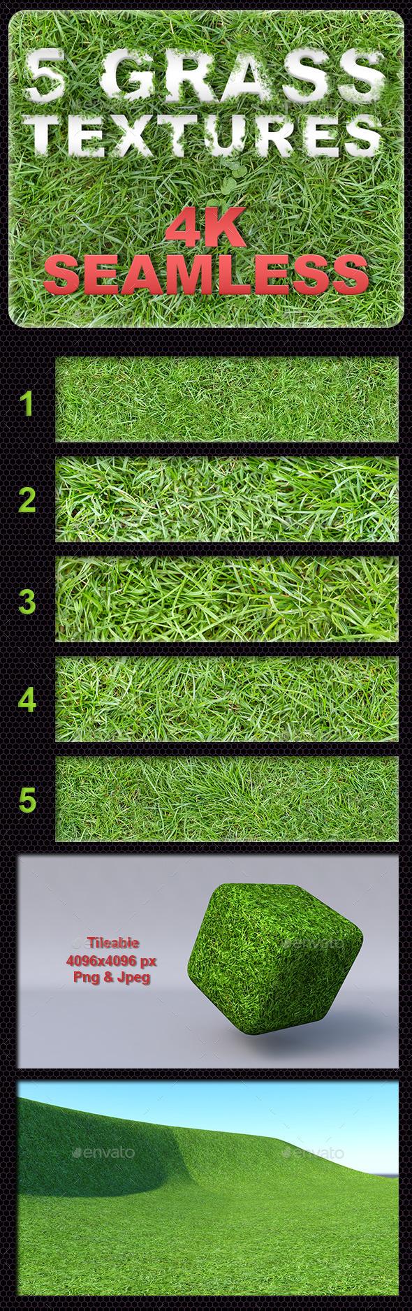 5 Grass Tileable Textures - 3DOcean Item for Sale