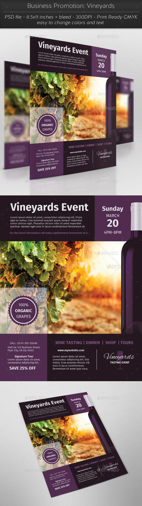 Business Promotion: Vineyards - Flyers Print Templates