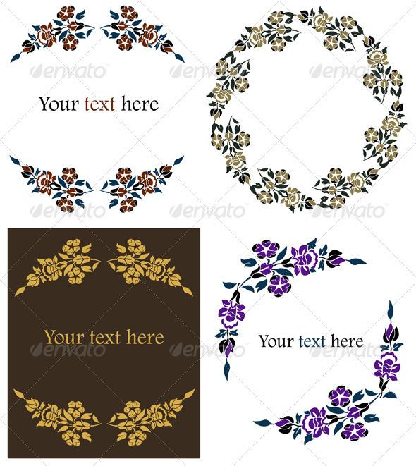 Decorative Floral Frames Set - Decorative Symbols Decorative