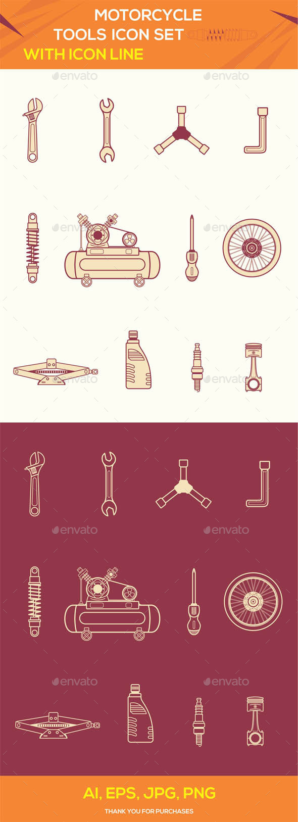 Motorcycle Tools Icon Set - Technology Icons
