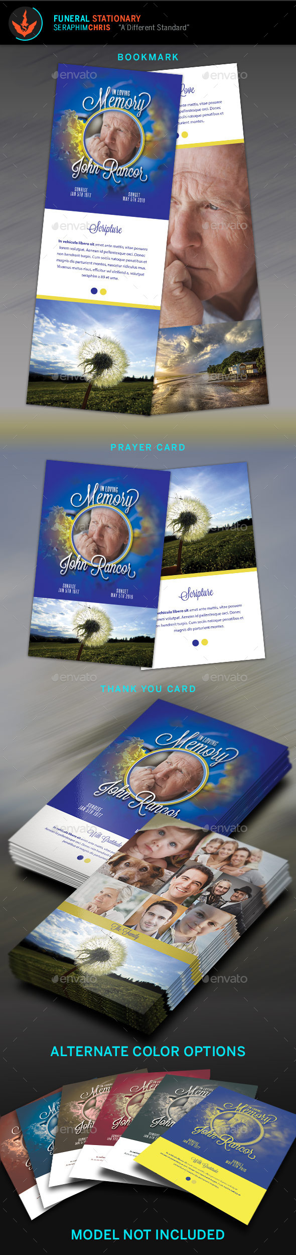 Premium Blue Funeral Program Stationery Template - Miscellaneous Print Templates