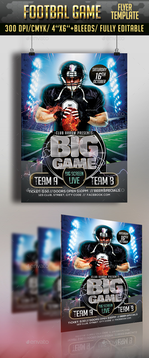 Football Game Flyer - Clubs & Parties Events