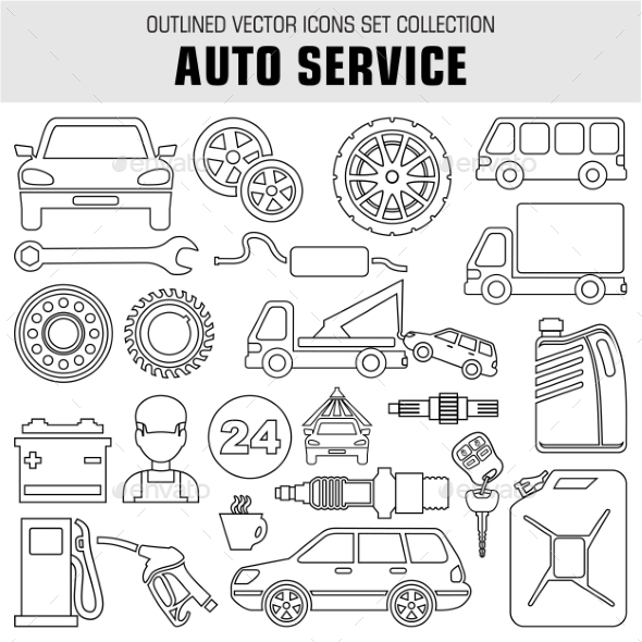 Outline Set Autoservice Icons - Objects Vectors