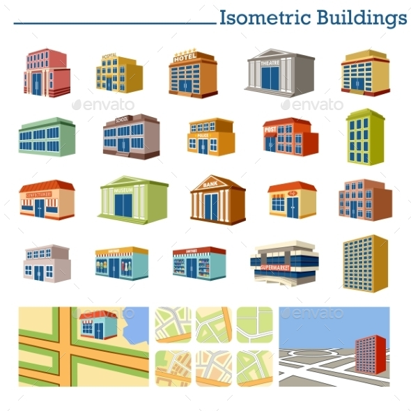 Isometric Buildings And Maps - Buildings Objects