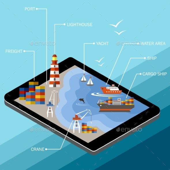 Seaport On The Tablet Screen - Web Technology