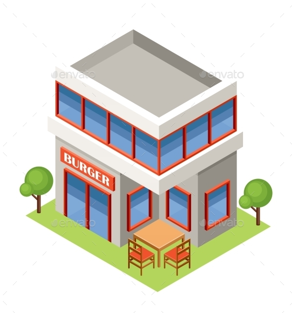 Isometric Burger House - Buildings Objects