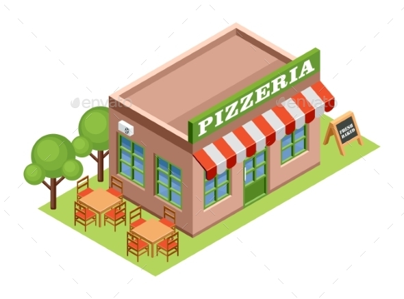 Isometric Pizzeria - Buildings Objects
