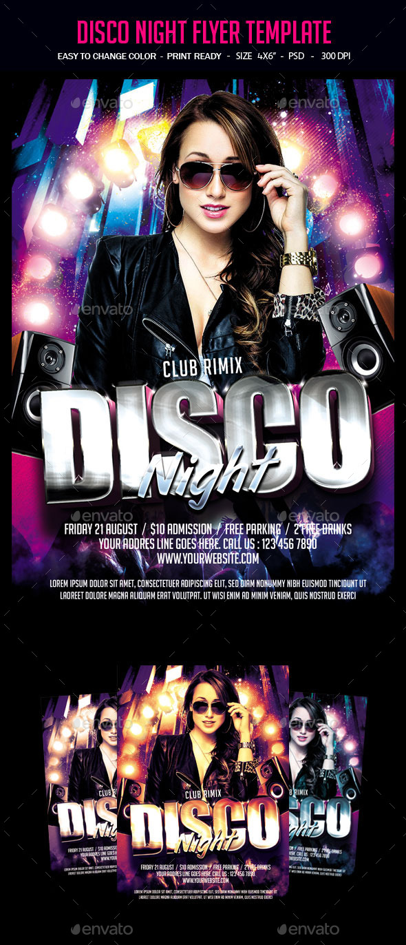 Disco Night Flyer Template - Clubs & Parties Events