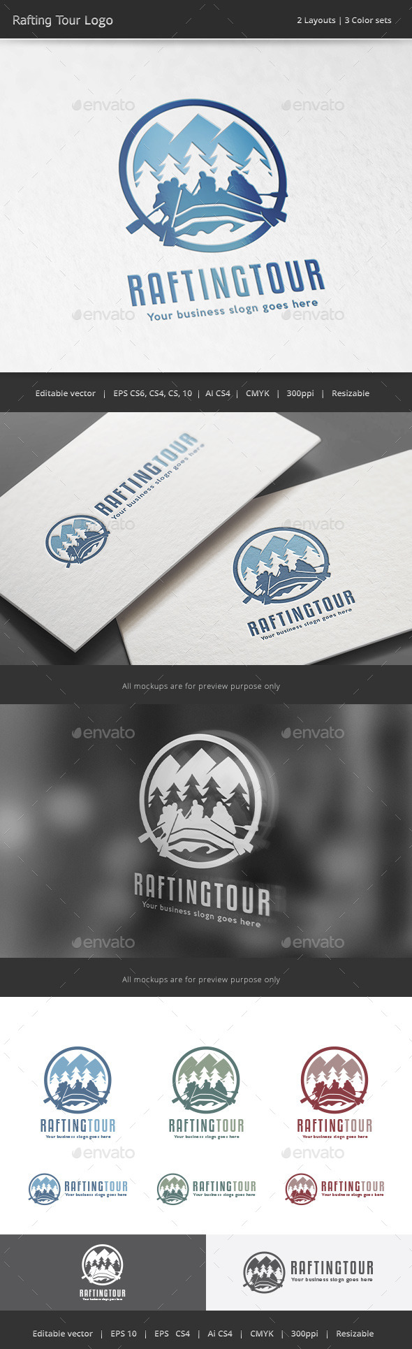 Rafting Tour Adventure Logo - Vector Abstract
