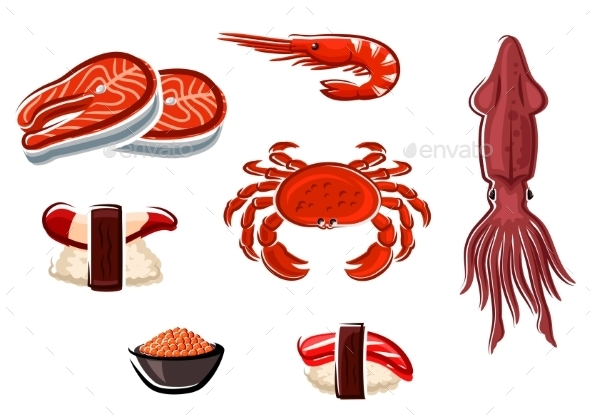 Fresh Seafood and Sea Animals - Food Objects