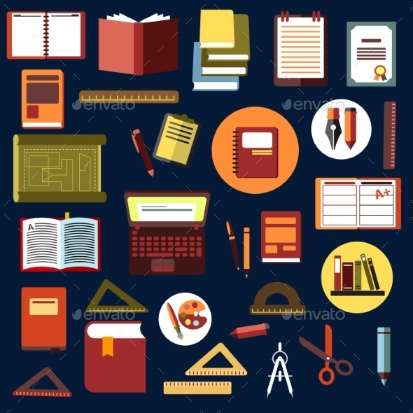 Education Flat Icons with School Supplies - Man-made Objects Objects