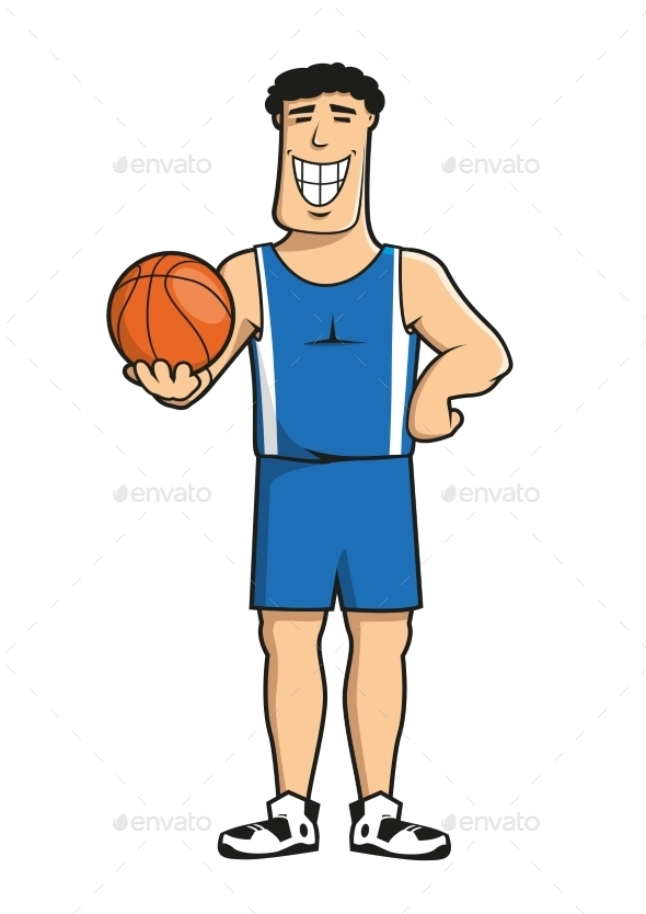 Cartoon Basketball Player with Ball - Sports/Activity Conceptual