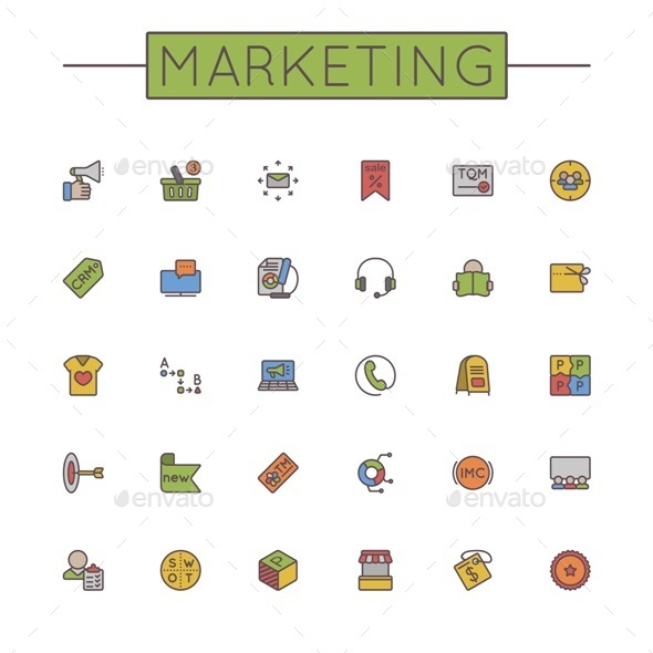 Vector Colored Marketing Line Icons - Business Icons